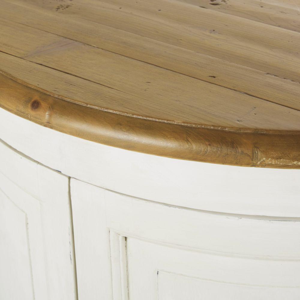 Etagère 2 portes pour îlot central cuisine modulable en pin recyclé ivoire