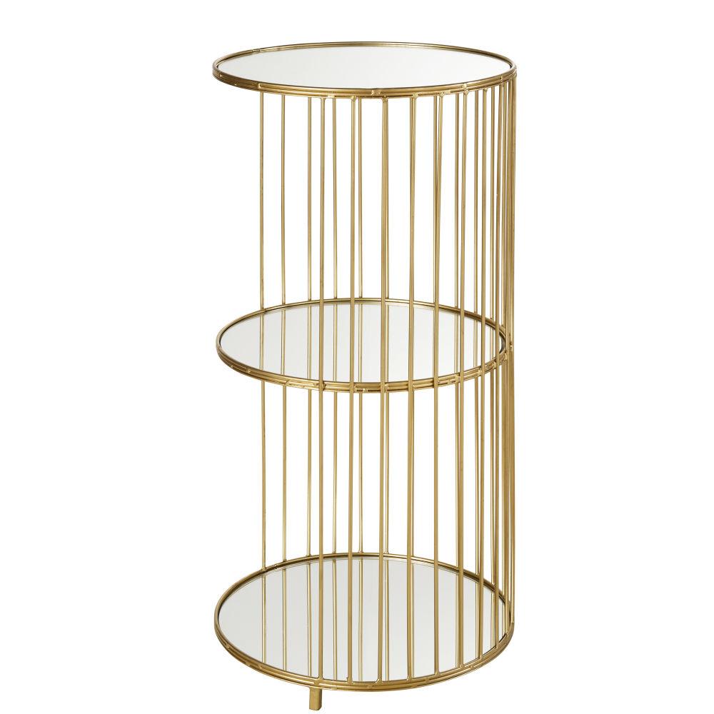 Etagère 3 plateaux en verre et métal doré (photo)