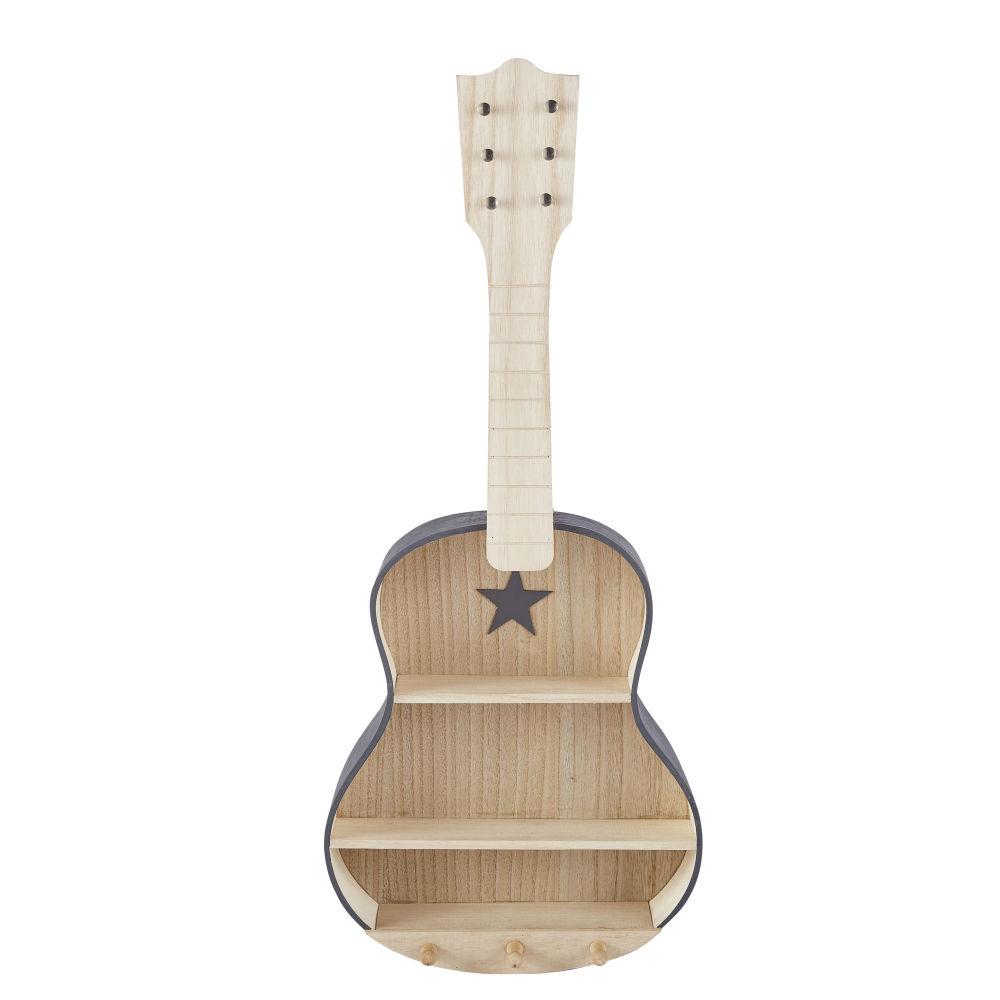 Etagère enfant guitare gris anthracite avec 3 crochets