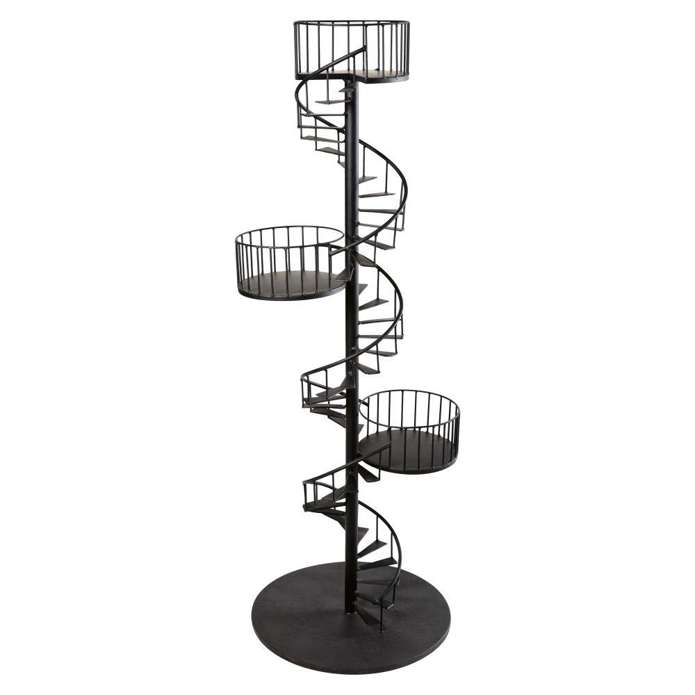Etagère escalier spirale en métal noir