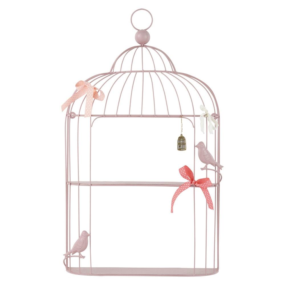 Étagère murale cage en métal rose