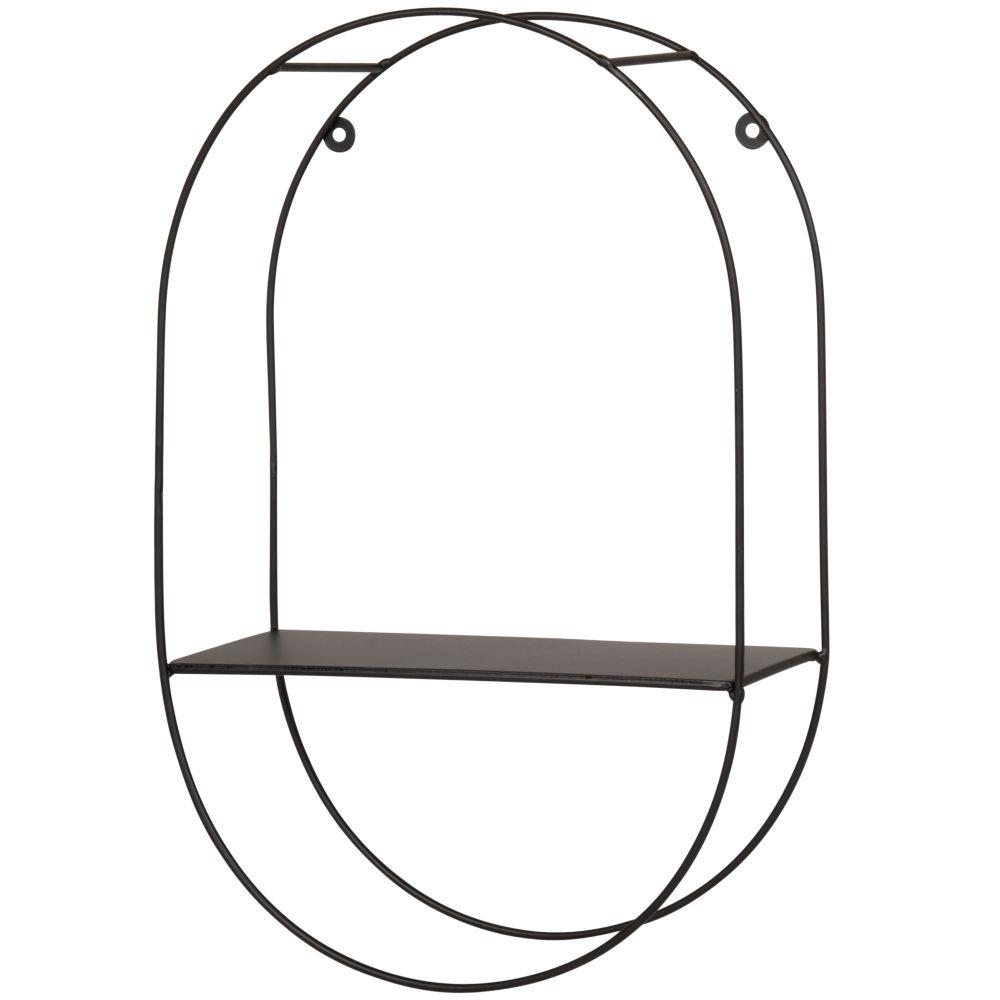 Etagère ovale en métal noir