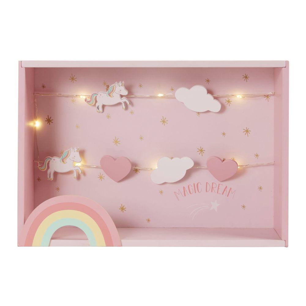 Etagère pêle-mêle licorne arc-en-ciel multicolores