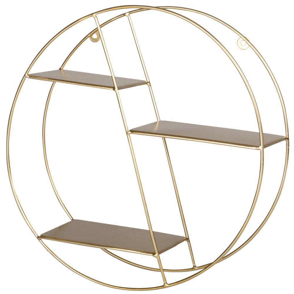 Etagère ronde en métal doré mat