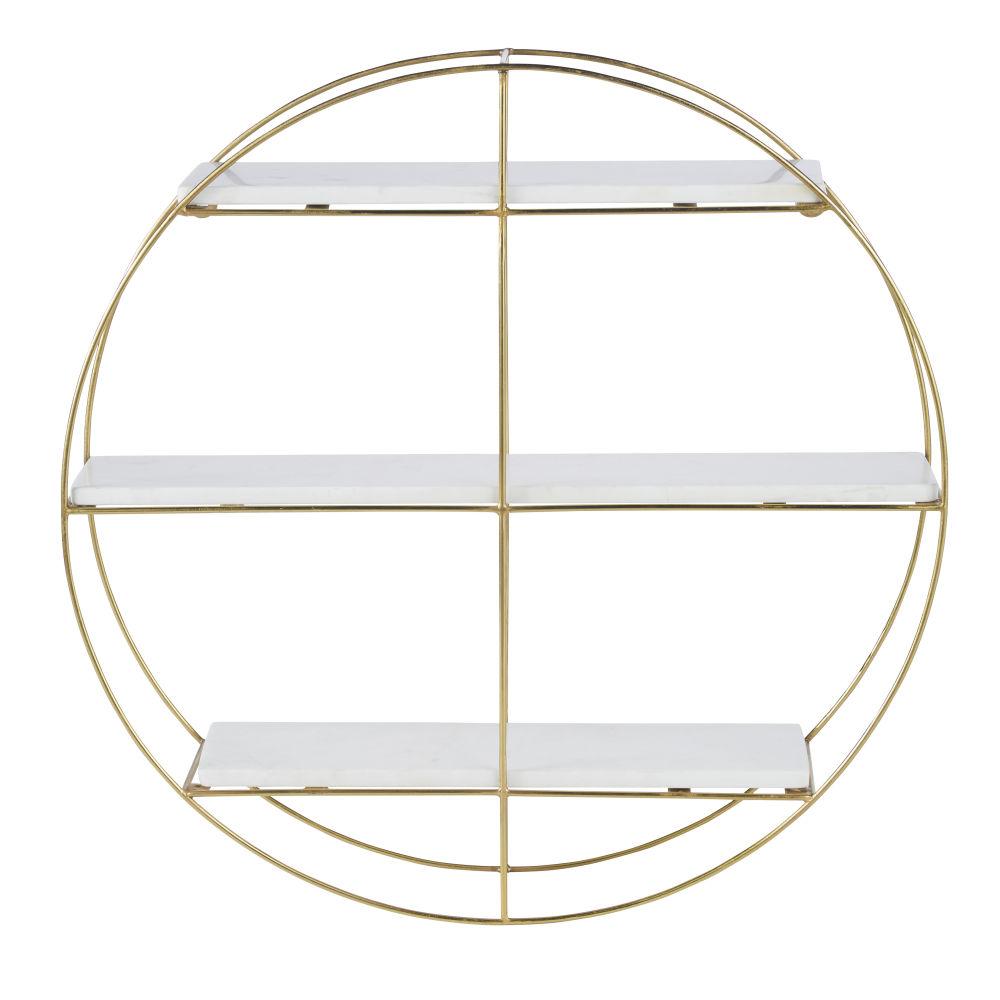 Etagère ronde en métal doré mat et marbre blanc