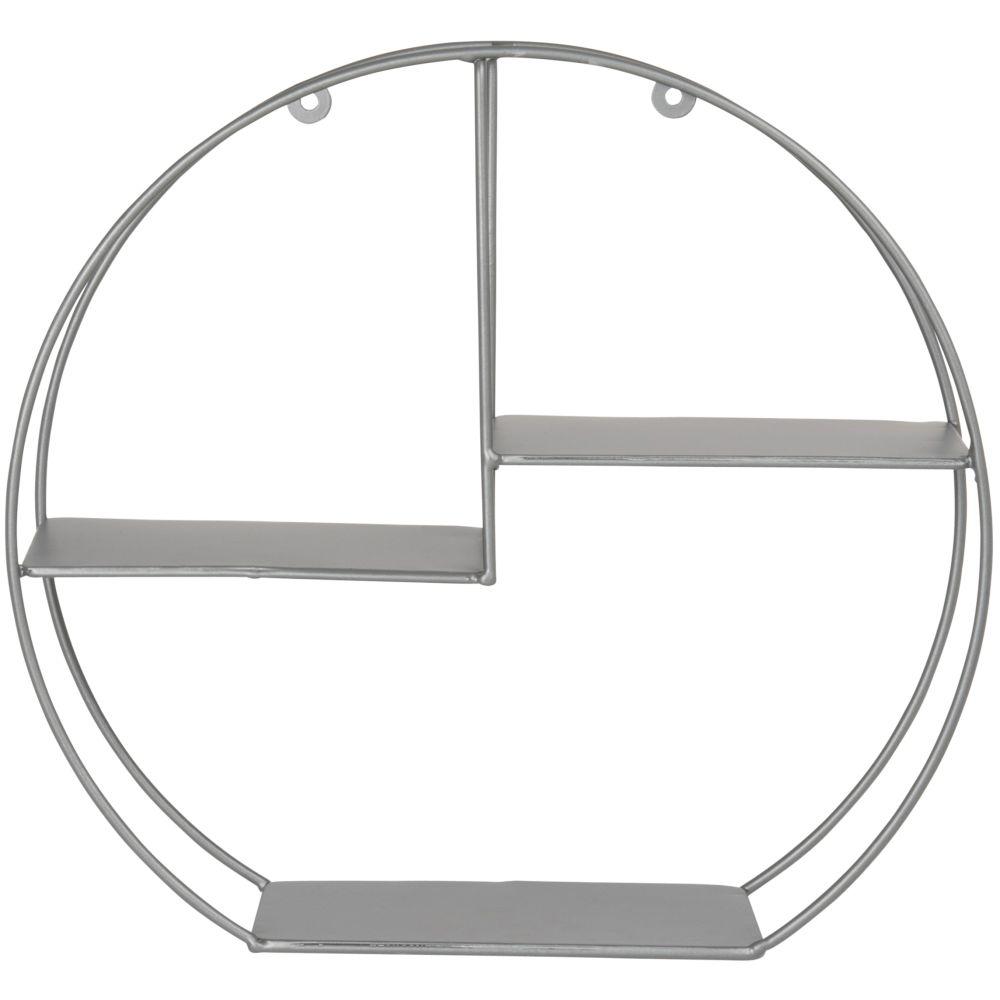 Etagère ronde en métal gris anthracite