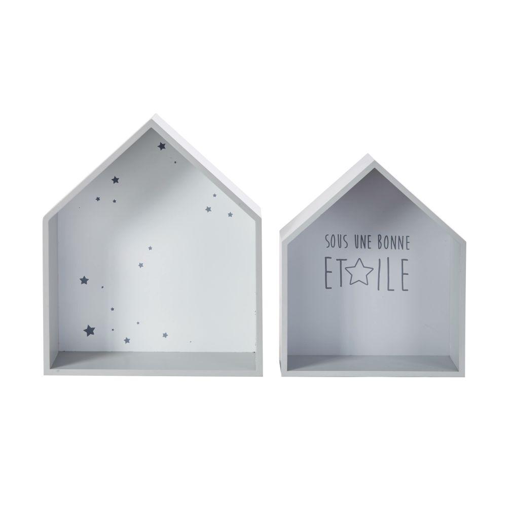 Etagères maisons à motifs (x2)