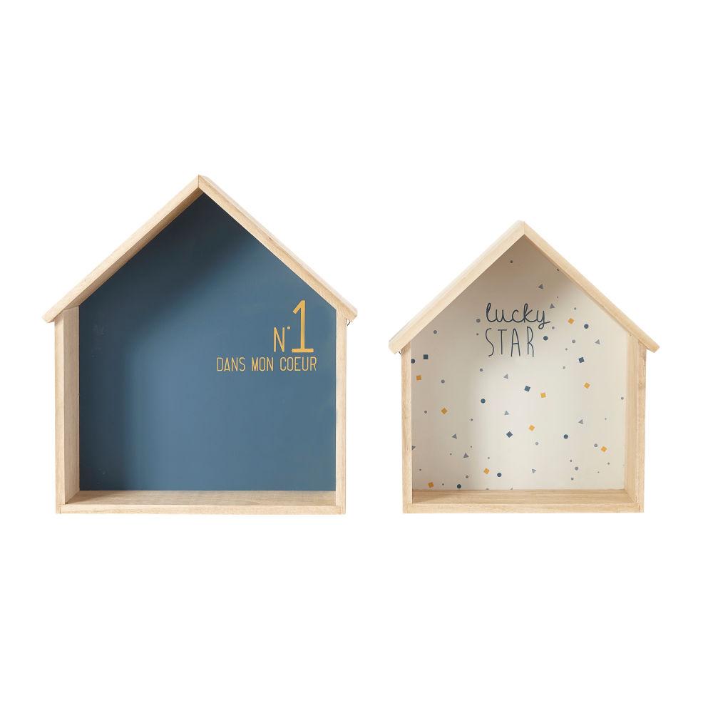 Etagères maisons bleue et blanche (x2)