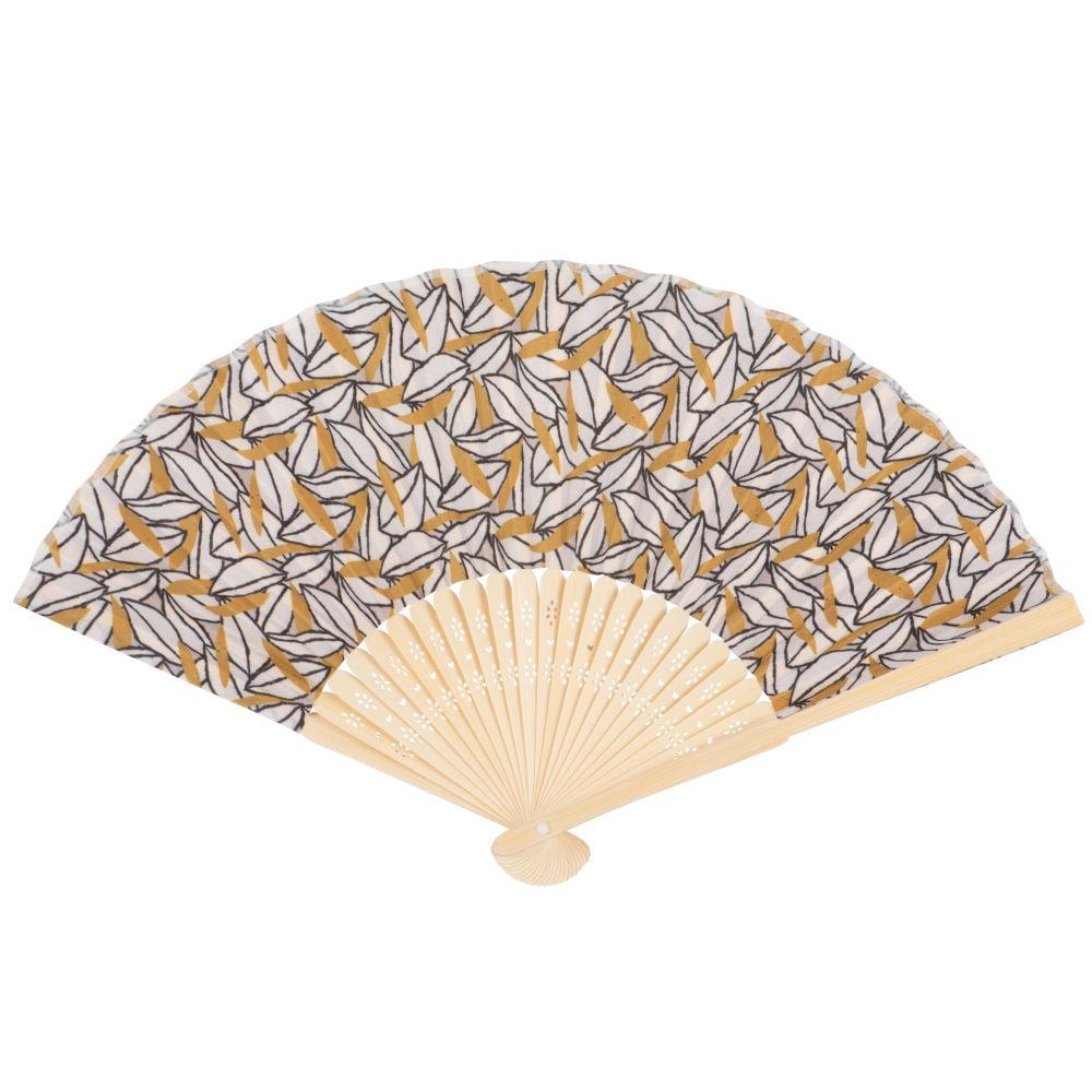 Eventail en bambou imprimé feuilles jaunes et blanches