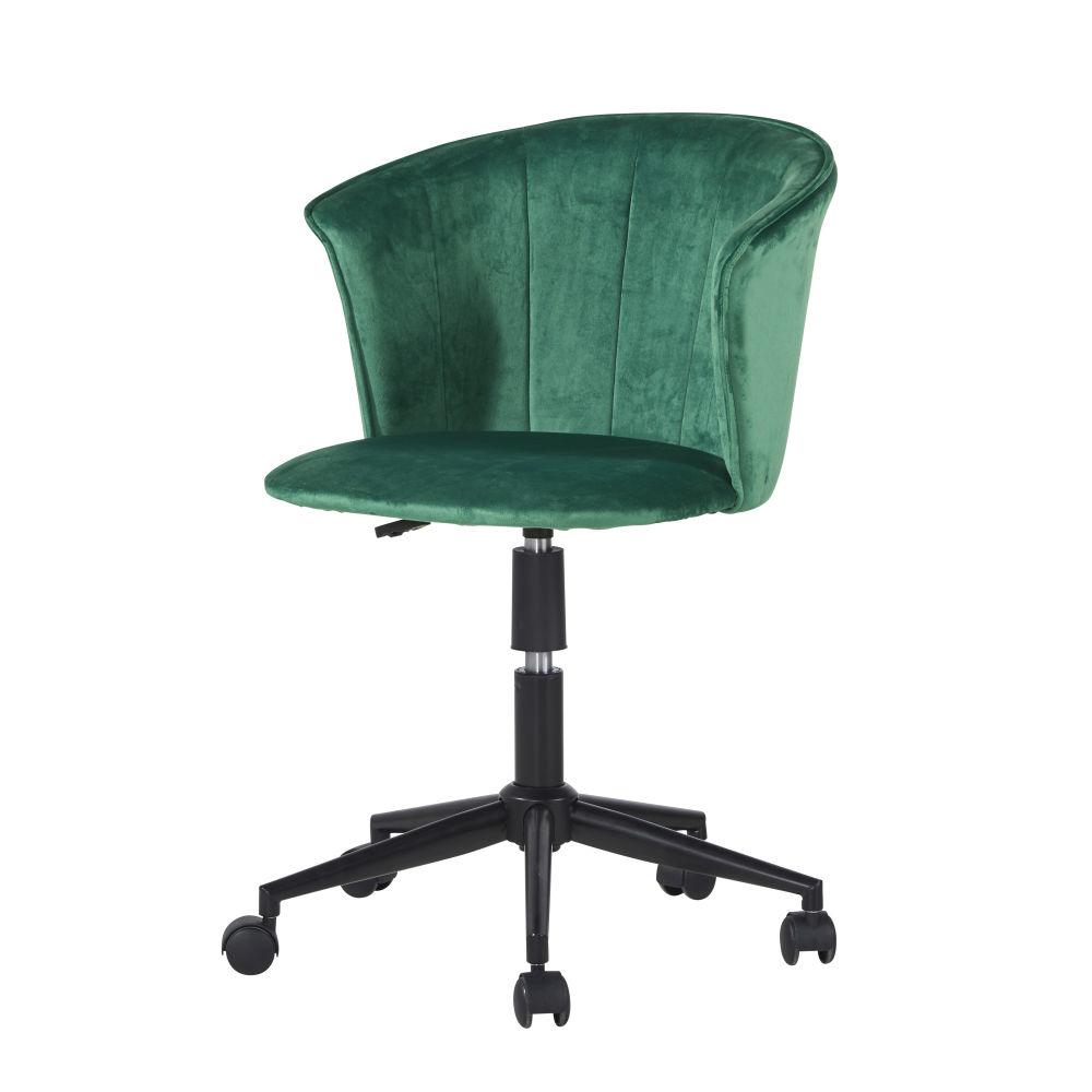 Fauteuil de bureau à roulettes en velours vert