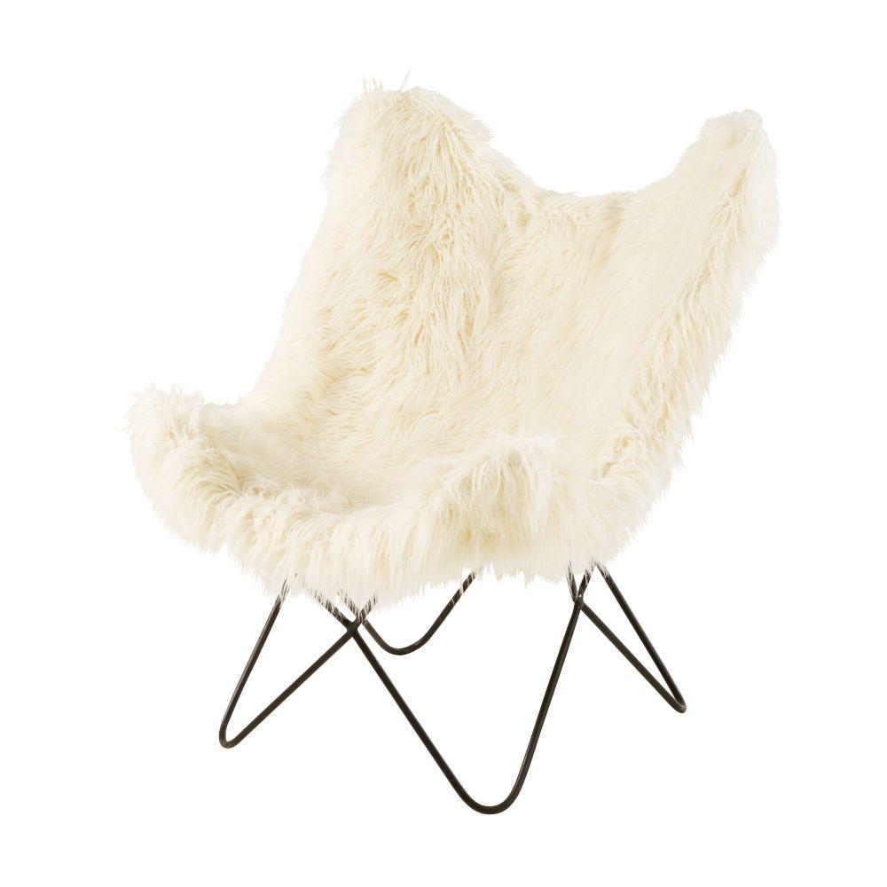 Fauteuil imitation fourrure ivoire