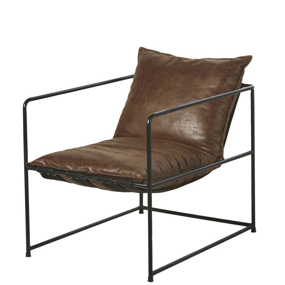 Fauteuil marron vieilli et métal noir