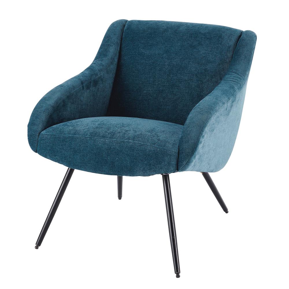 Fauteuil vintage en velours bleu et métal