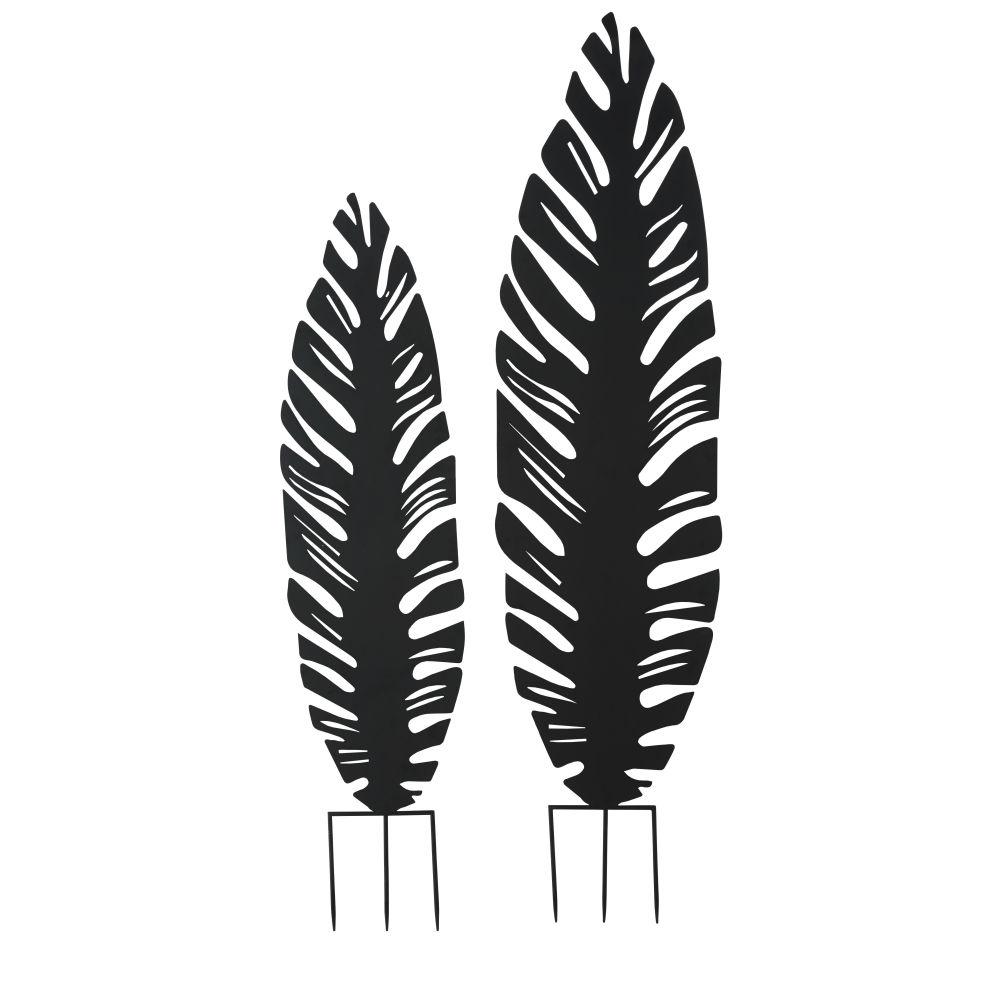 Feuilles déco d'extérieur en métal noir à planter (X2)
