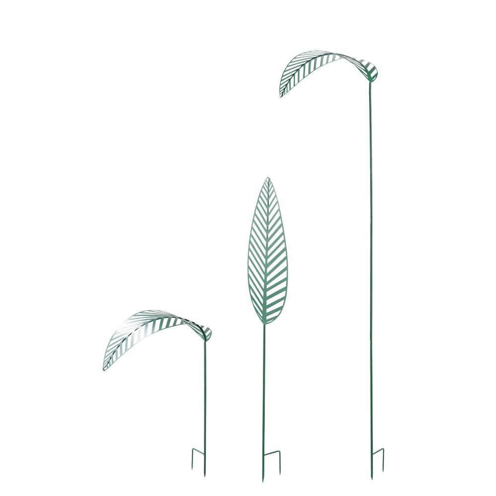 Feuilles déco d'extérieur en métal vert à planter (x3)