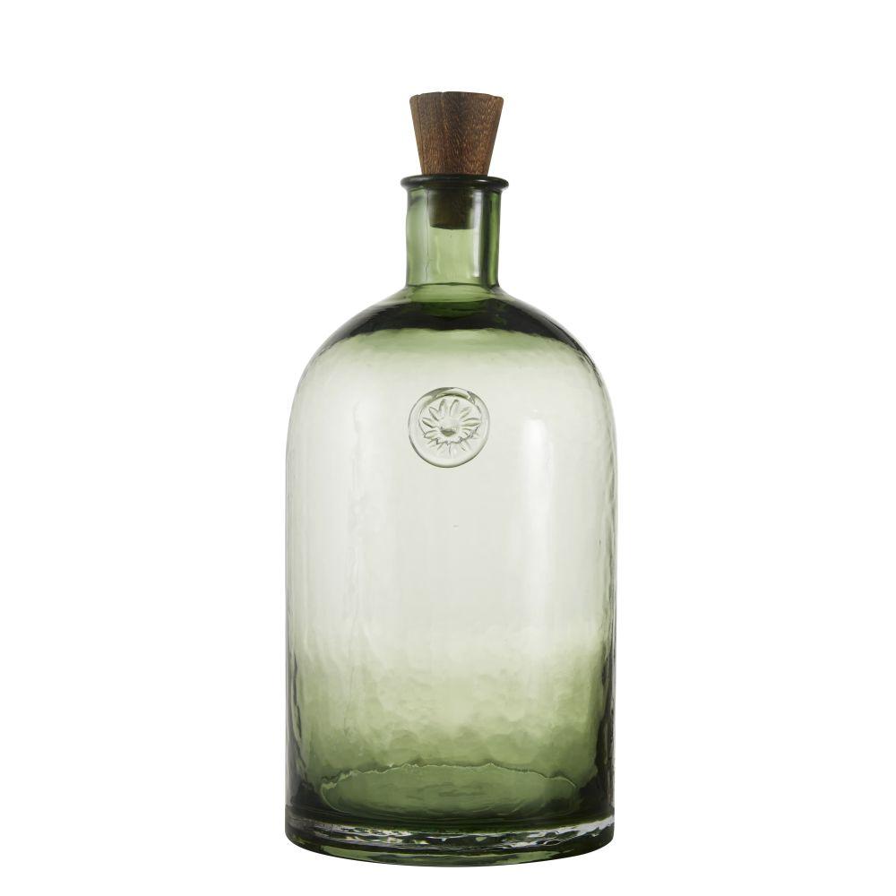 Flacon déco en verre teinté vert avec bouchon H34