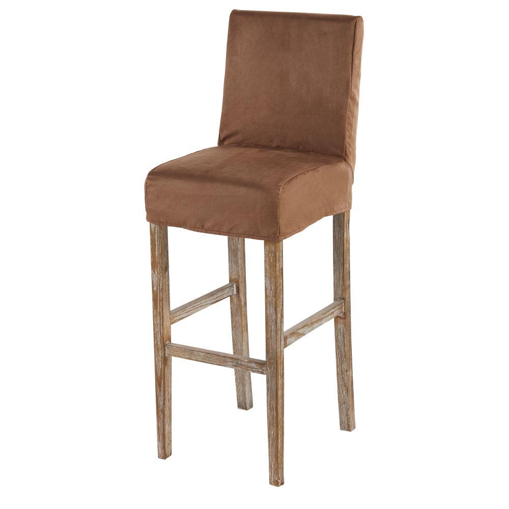 Fodera per sedia da bar in similpelle scamosciata cioccolato