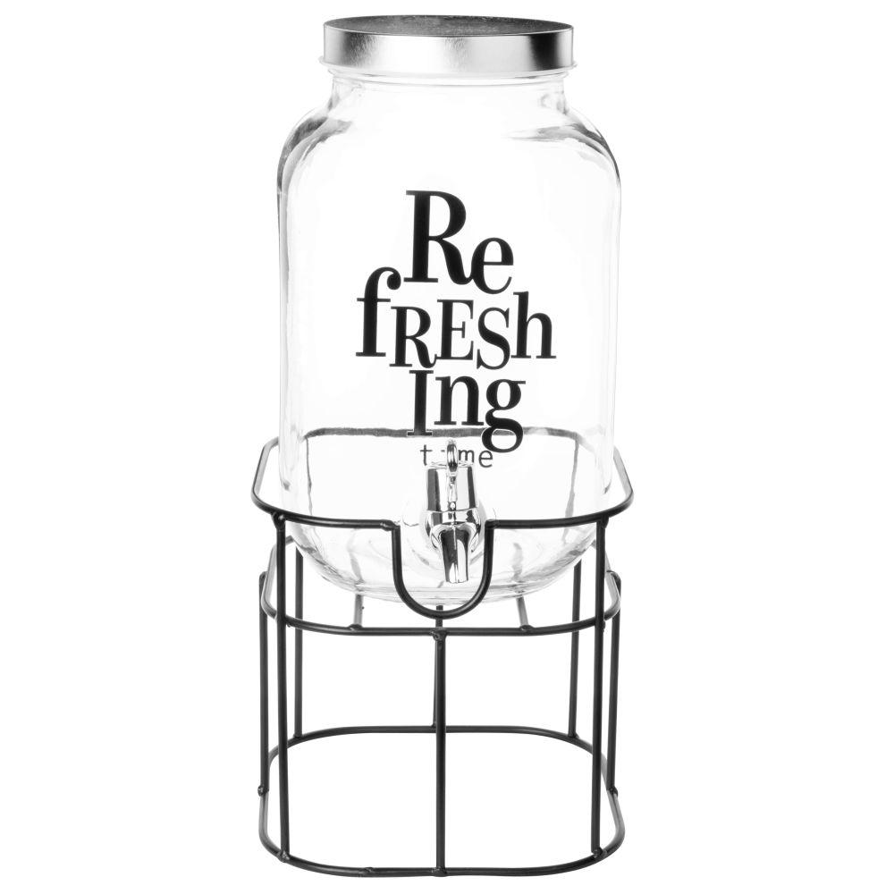 Fontaine à boisson en verre et métal 4L