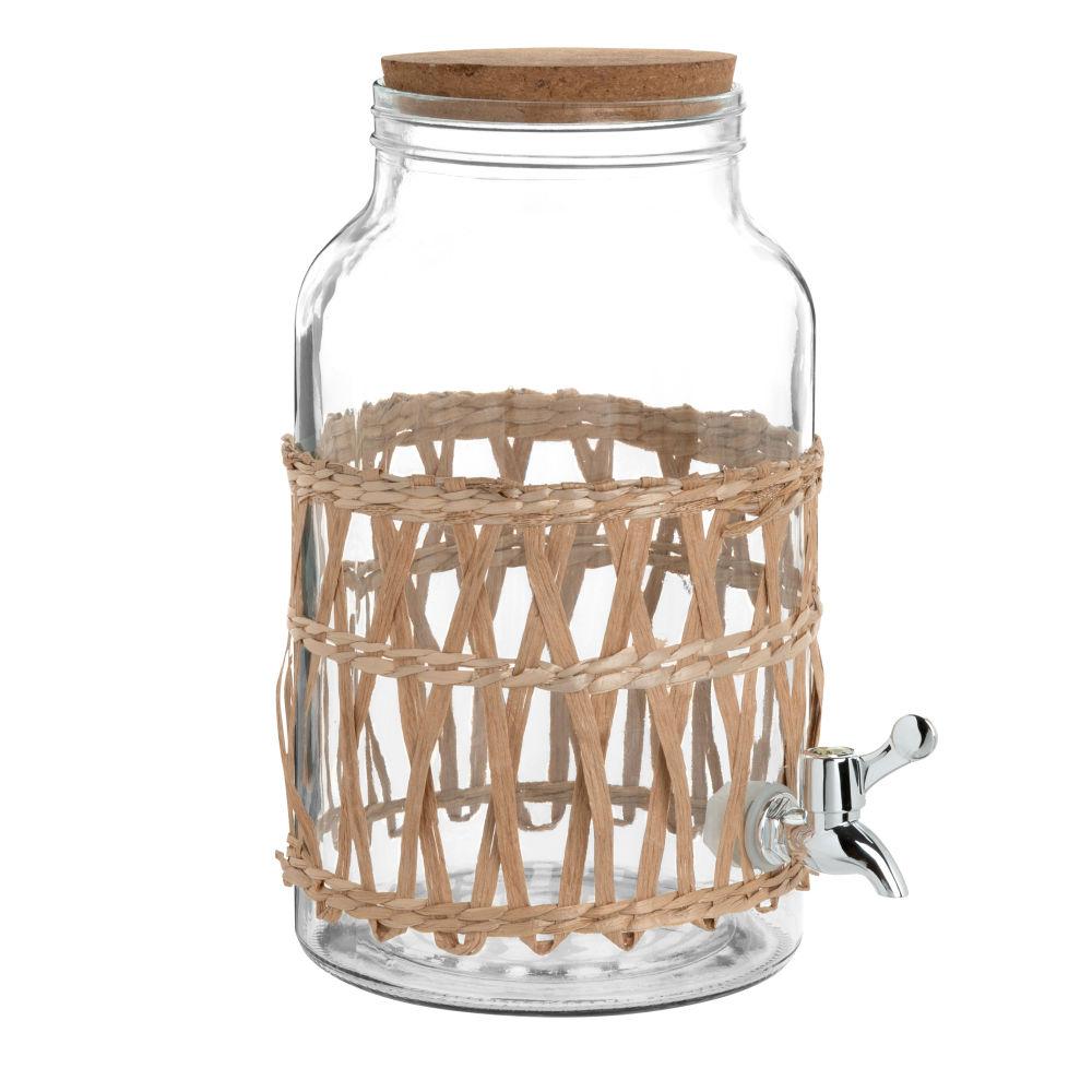 Fontaine à boisson en verre et rotin 5,5L