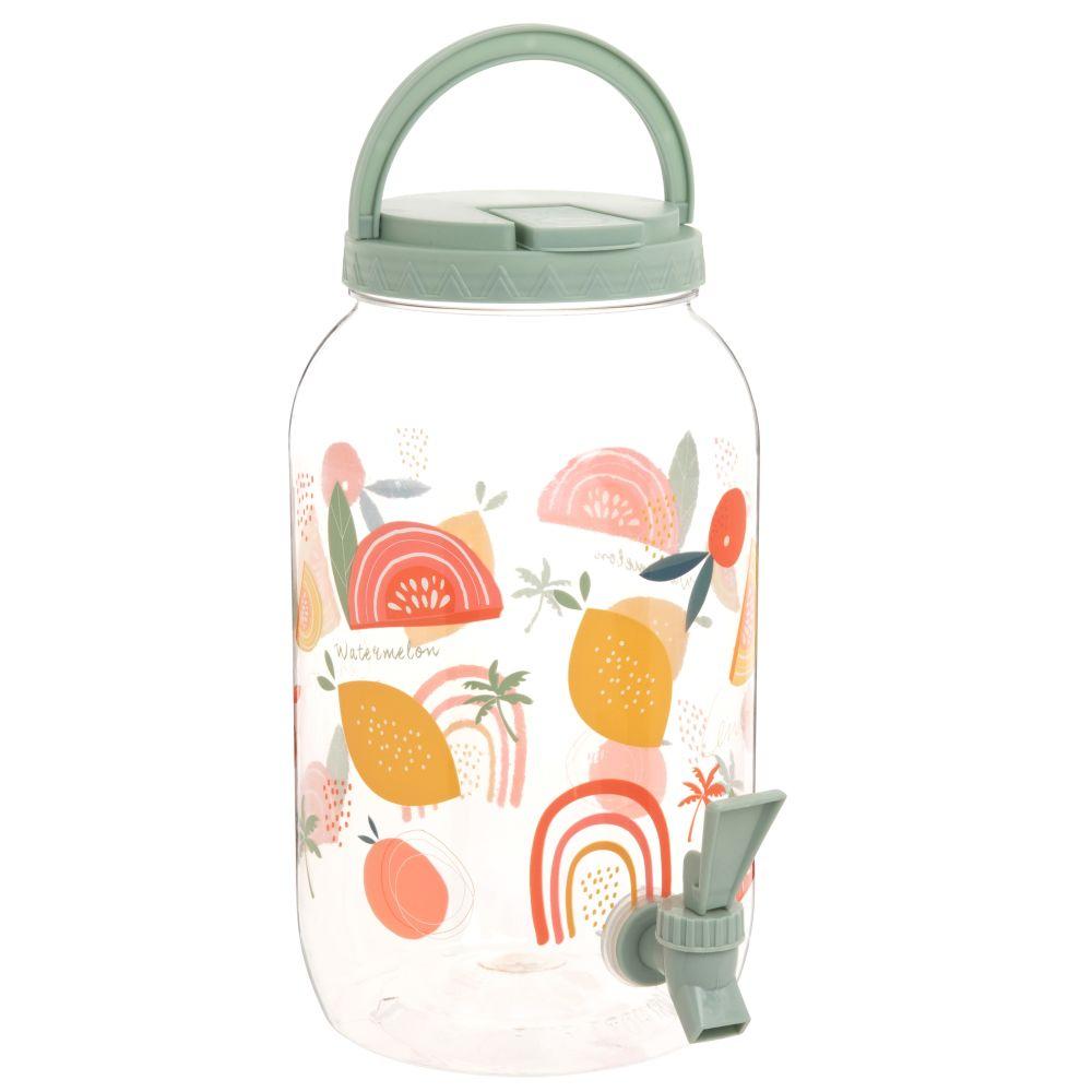 Fontaine à boisson motifs à rayures et fruits multicolores 3.8L
