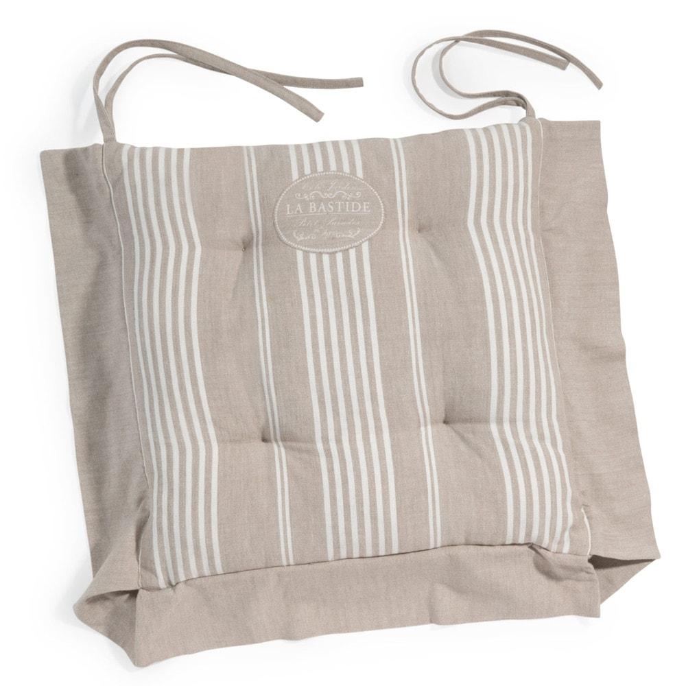 Galette de chaise à rayures en coton beige