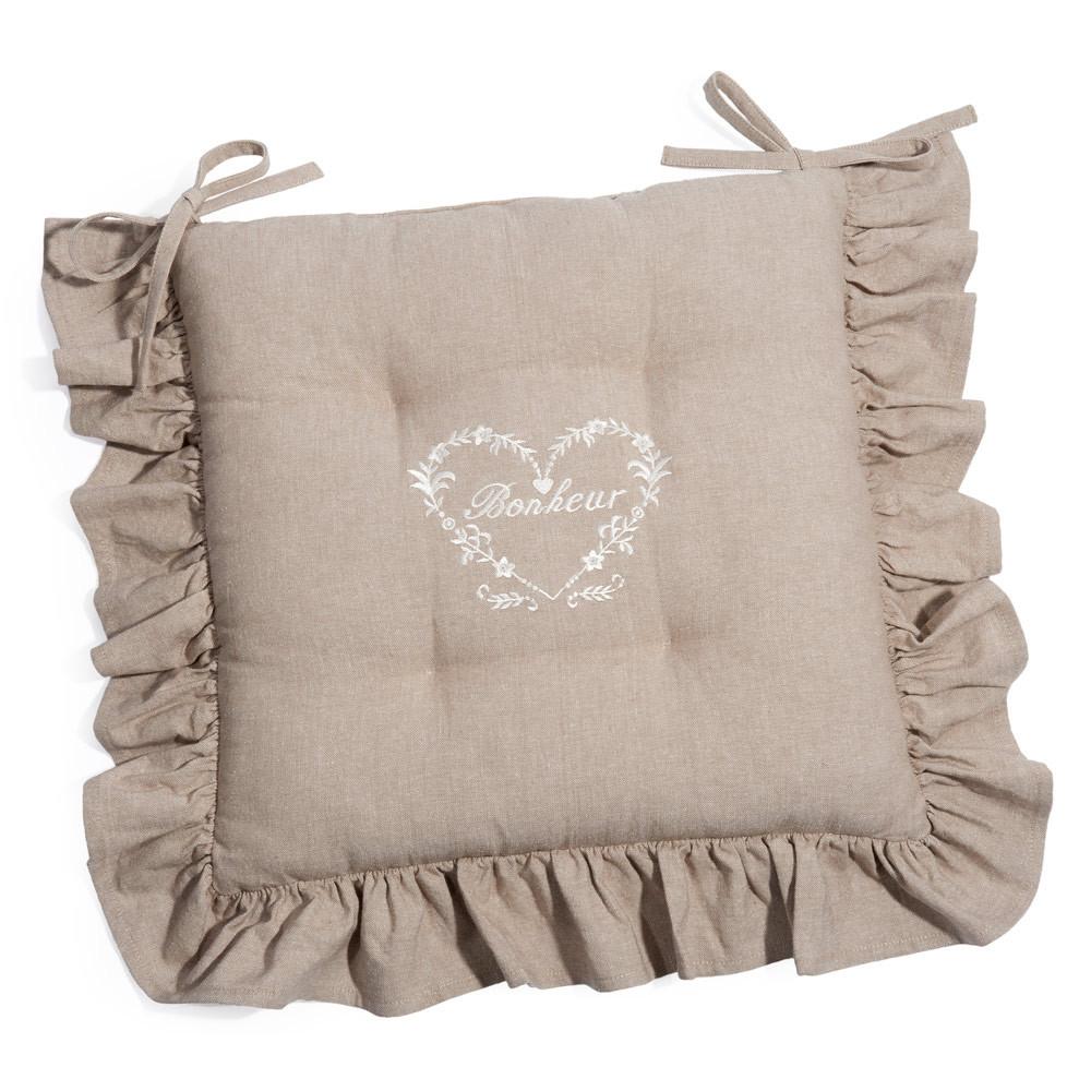 Galette de chaise en coton beige