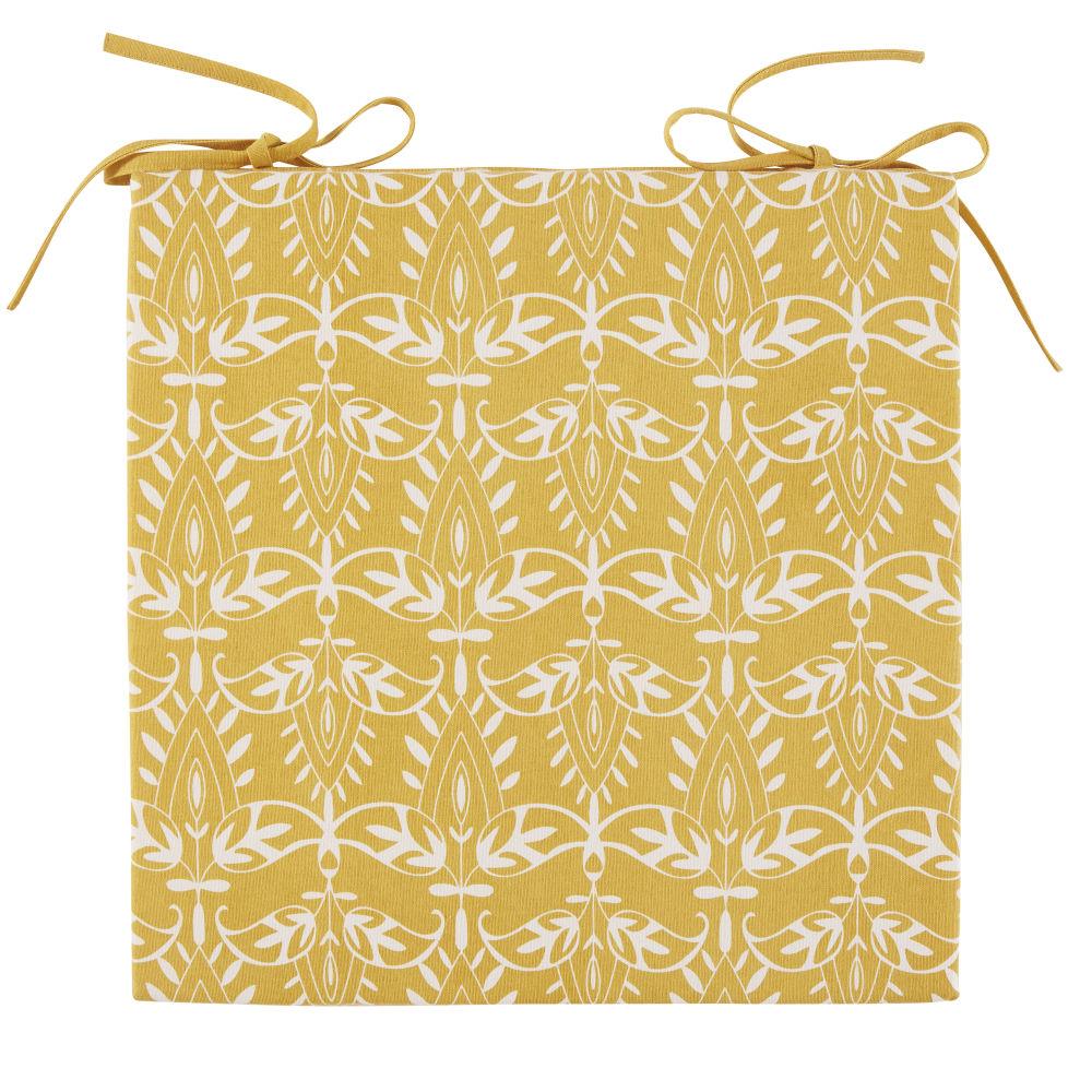 Galette de chaise en coton jaune motifs graphiques blancs
