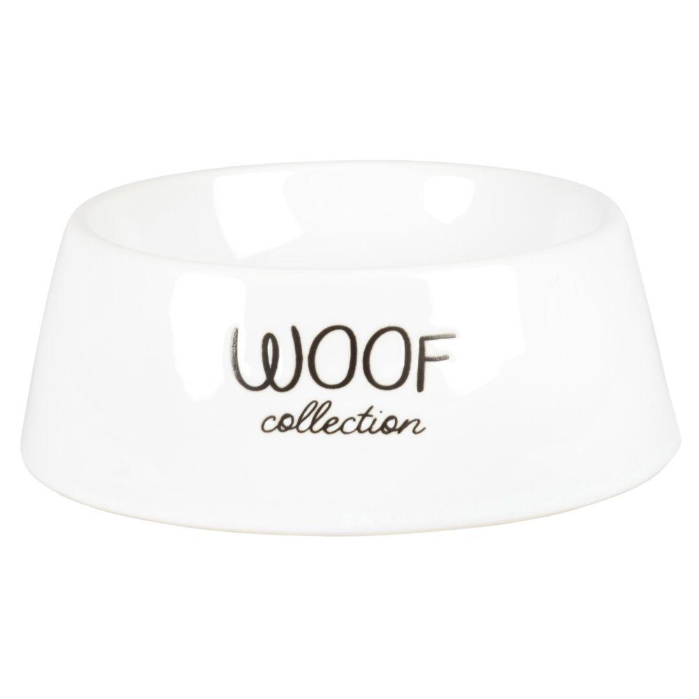 Gamelle chien en porcelaine blanche motif chien