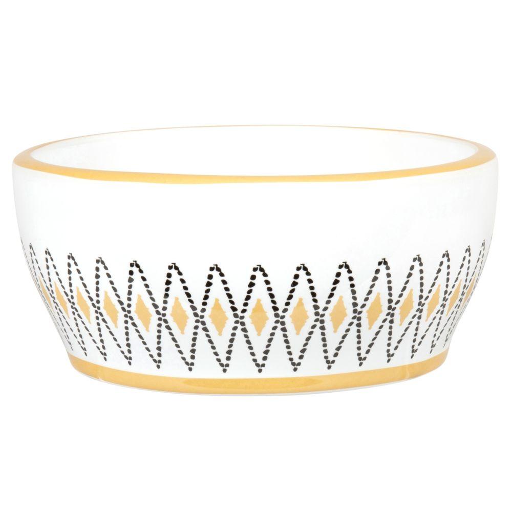 Gamelle en porcelaine blanche et jaune motifs losanges noirs
