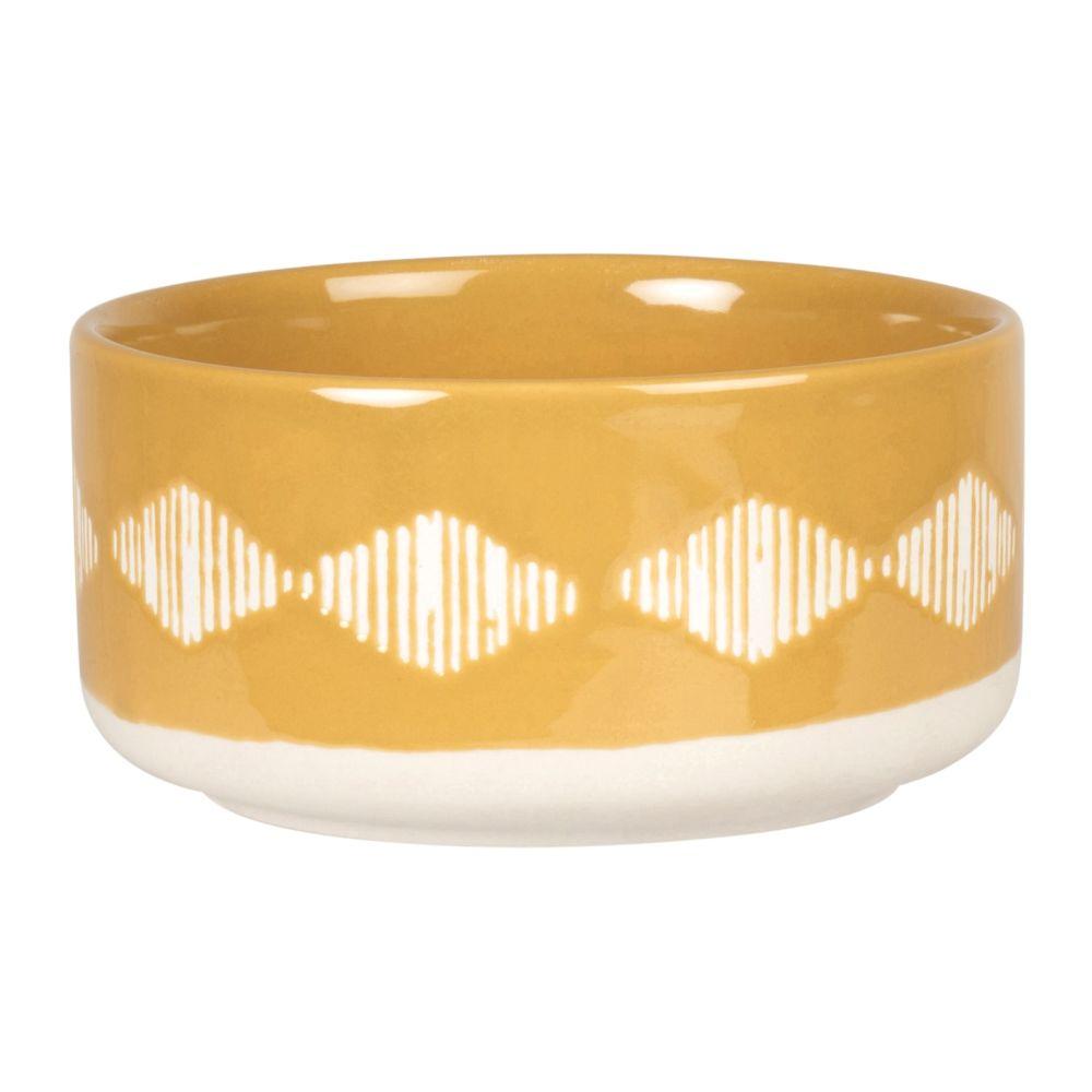 Gamelle en porcelaine jaune moutarde motifs graphiques blancs
