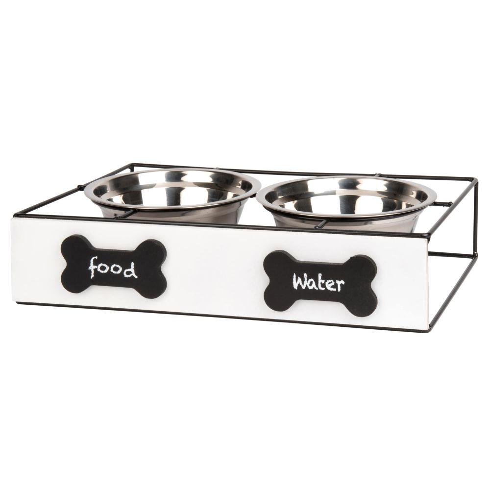 Gamelles pour chien en inox (x2) avec support en pin blanc et métal noir