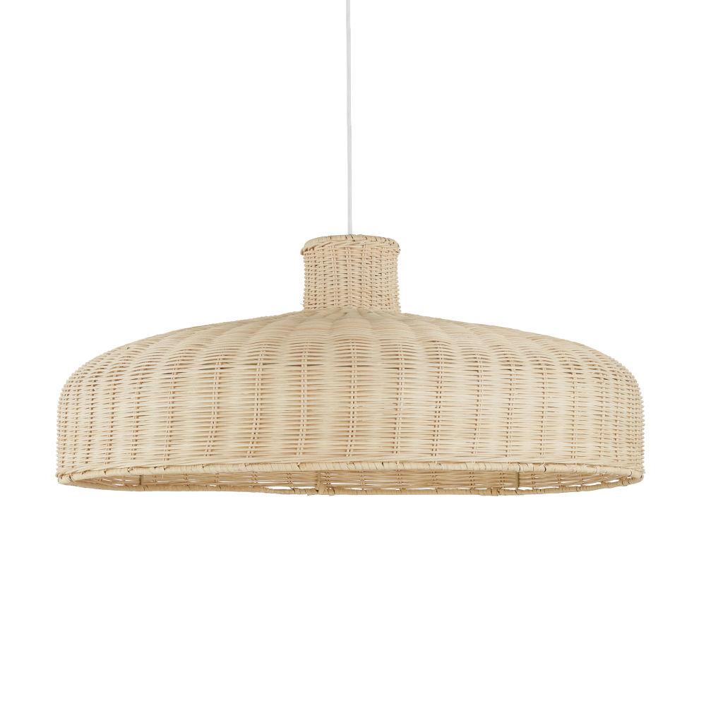 Gebroken Witte Hanglamp Uit Gevlochten Rotan Met Witte Kabel, D71
