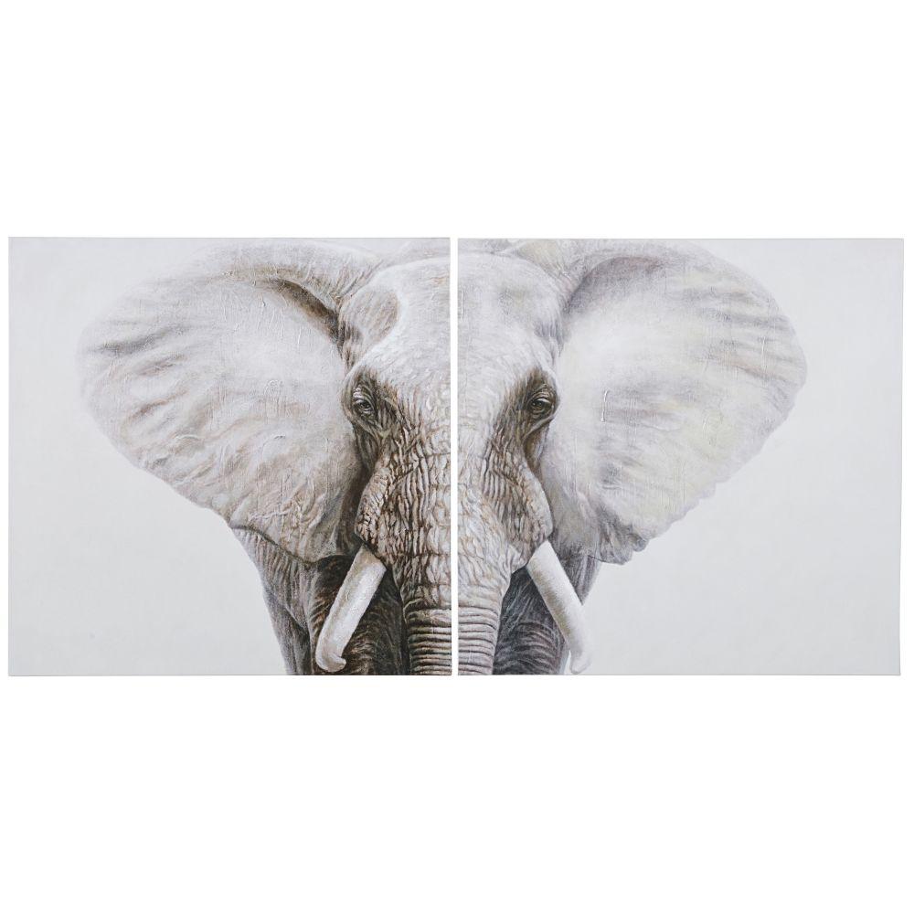 Geschilderd Tweeluik Canvas Van Olifant 180 X 90 Cm