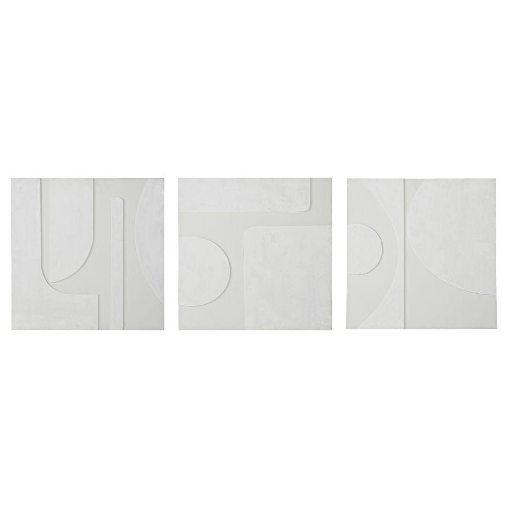 Geschilderde Canvassen Met Print En Reliëf (x3) 65 X 65 Cm