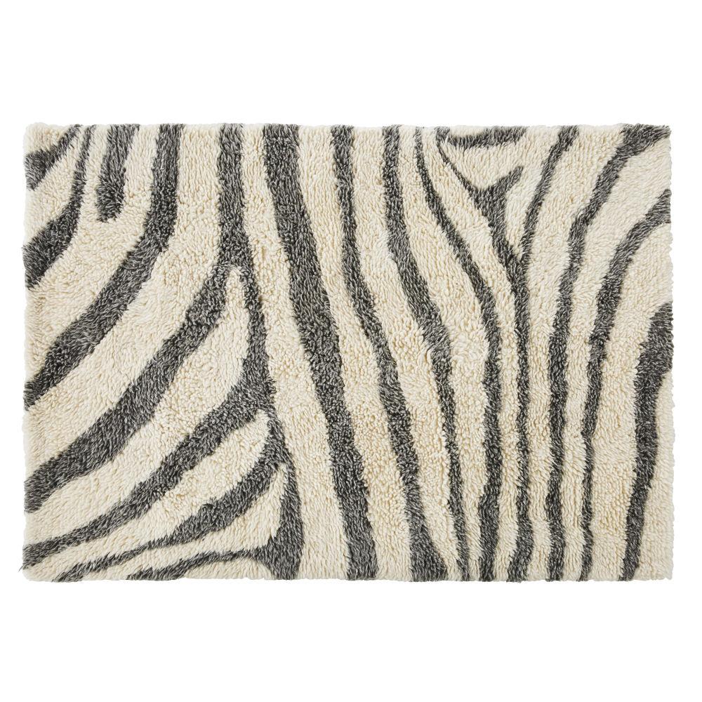 Getuft Tapijt Van Wol Met Ecru-zwarte Zebraprint 140 X 200 Cm