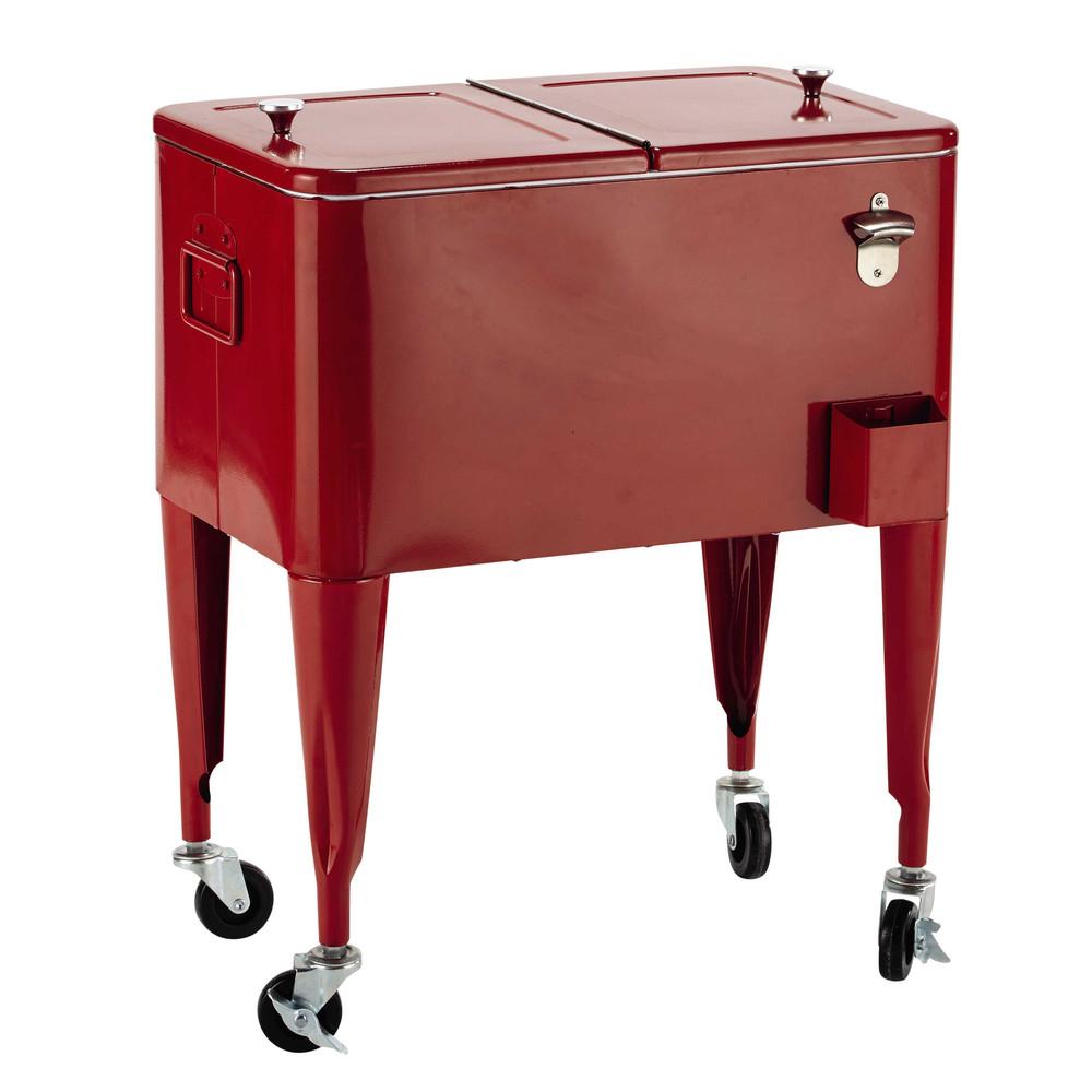 Glacière vintage à roulettes en métal rouge H 77 cm
