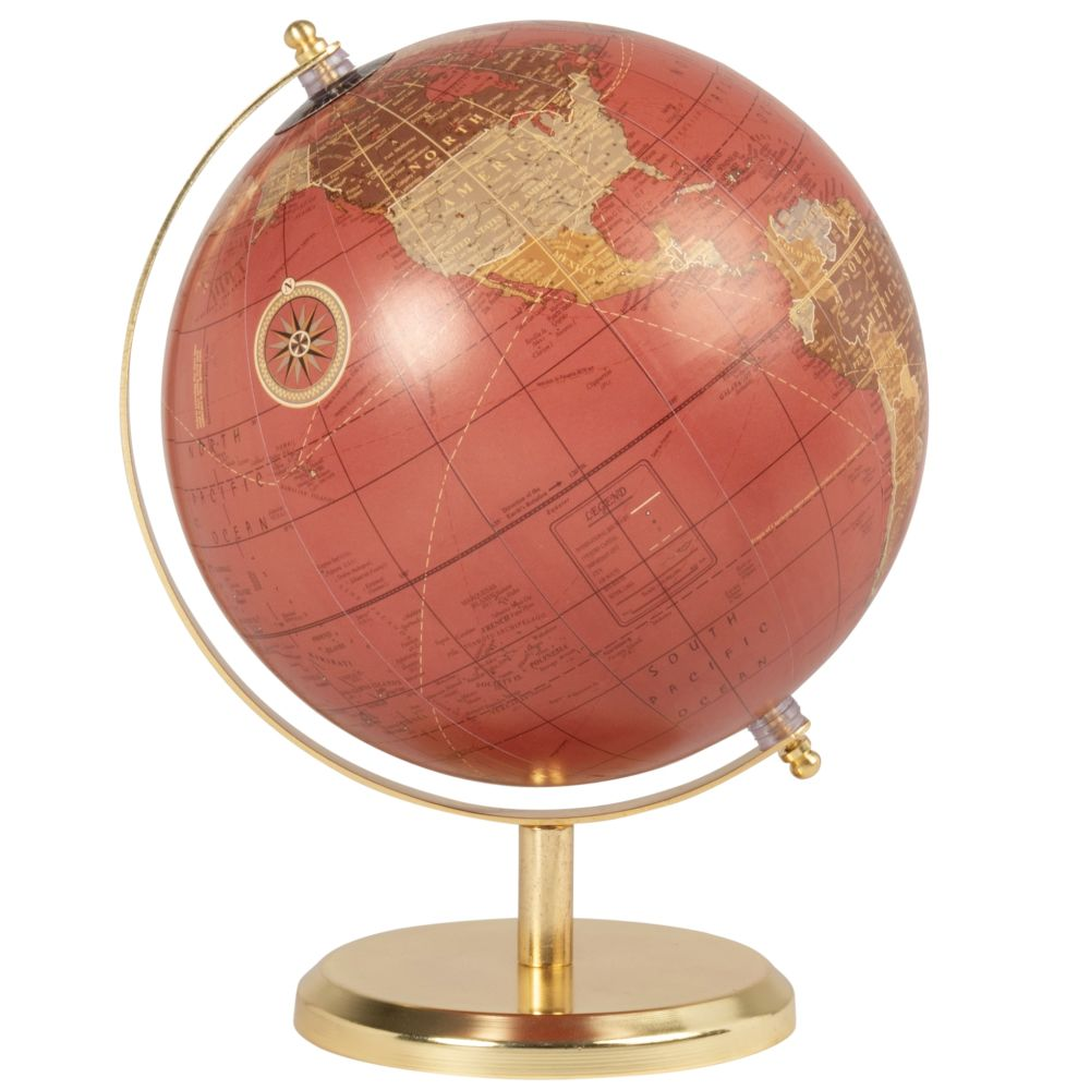 Globe carte du monde en métal violet aubergine et doré