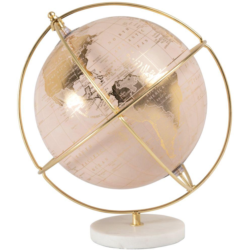 Globe carte du monde rose et métal doré