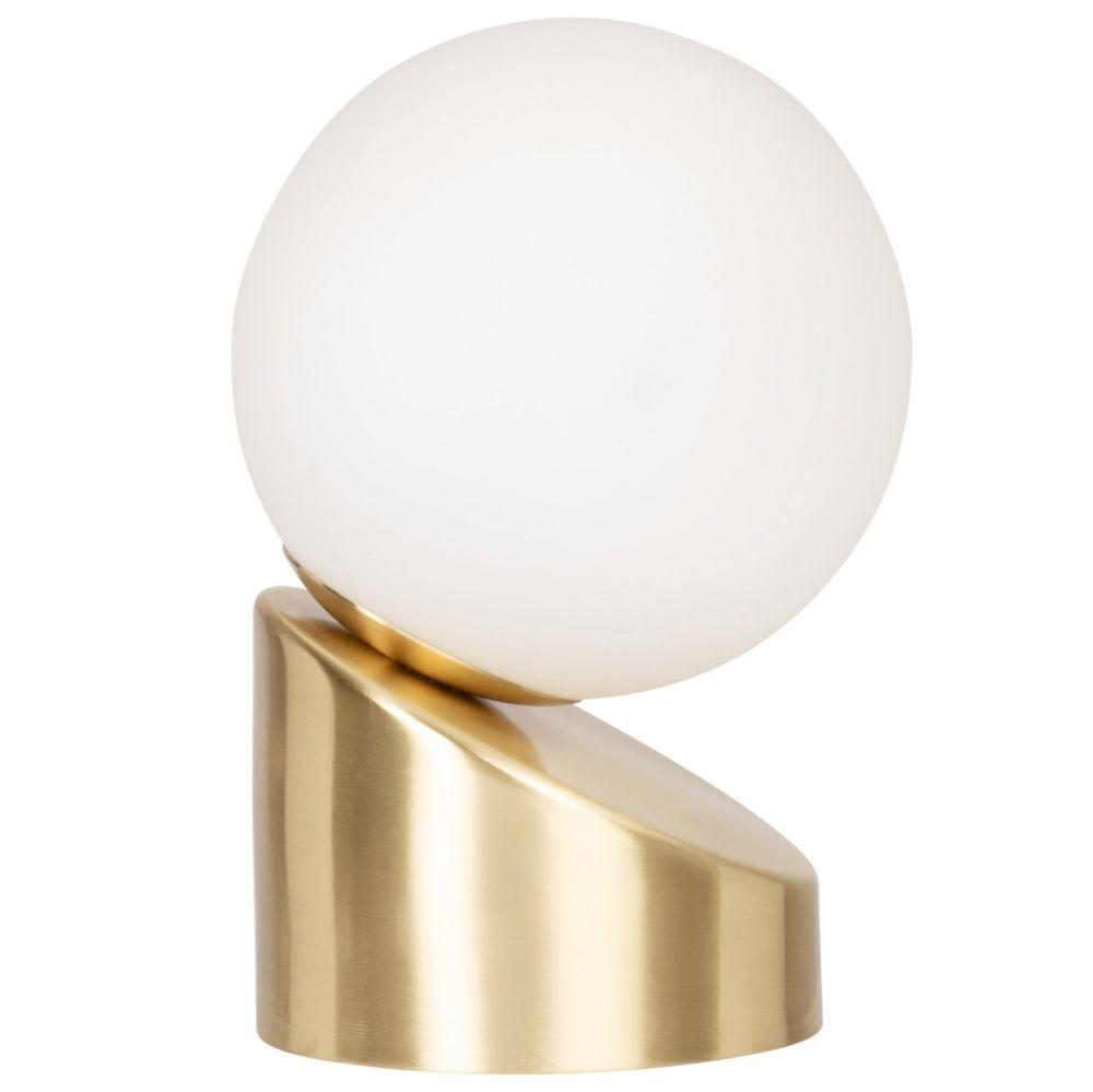Globe lumineux en verre opaque blanc et métal doré