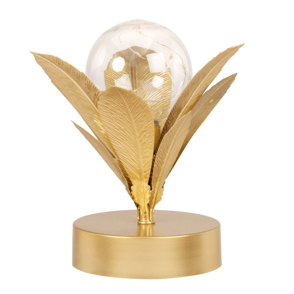 Globe lumineux socle feuilles en métal doré
