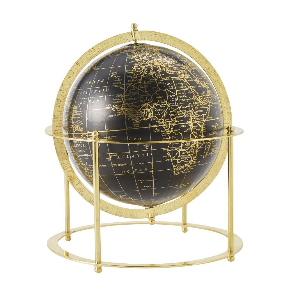 Globe terrestre à poser noir et métal doré brillant H30