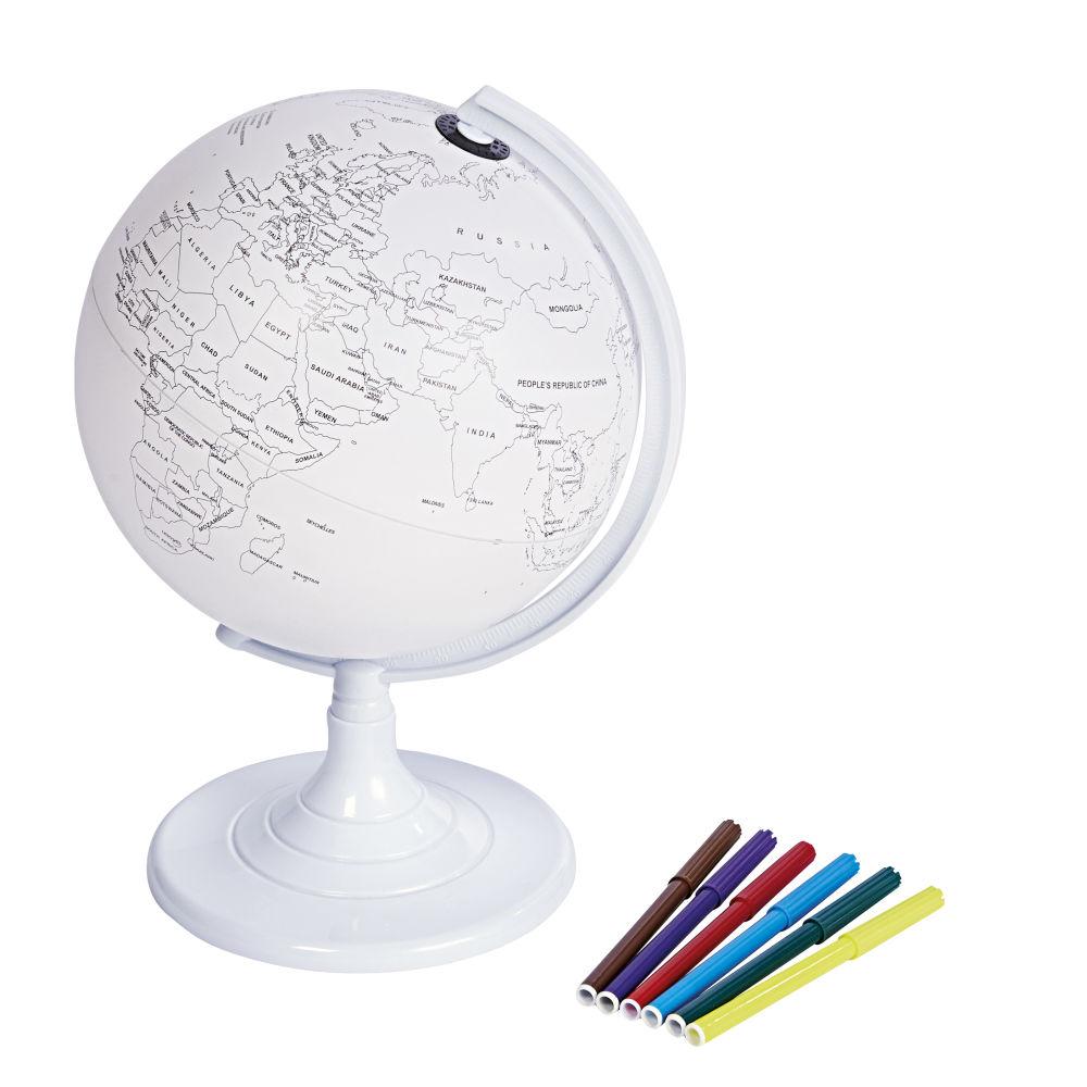Globe terrestre carte du monde à colorier blanc