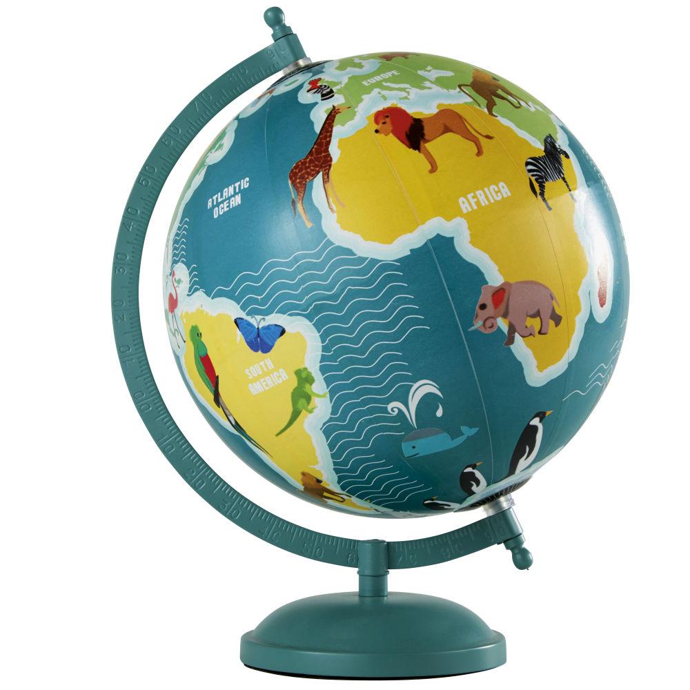 Globe terrestre carte du monde animaux en métal bleu et multicolore
