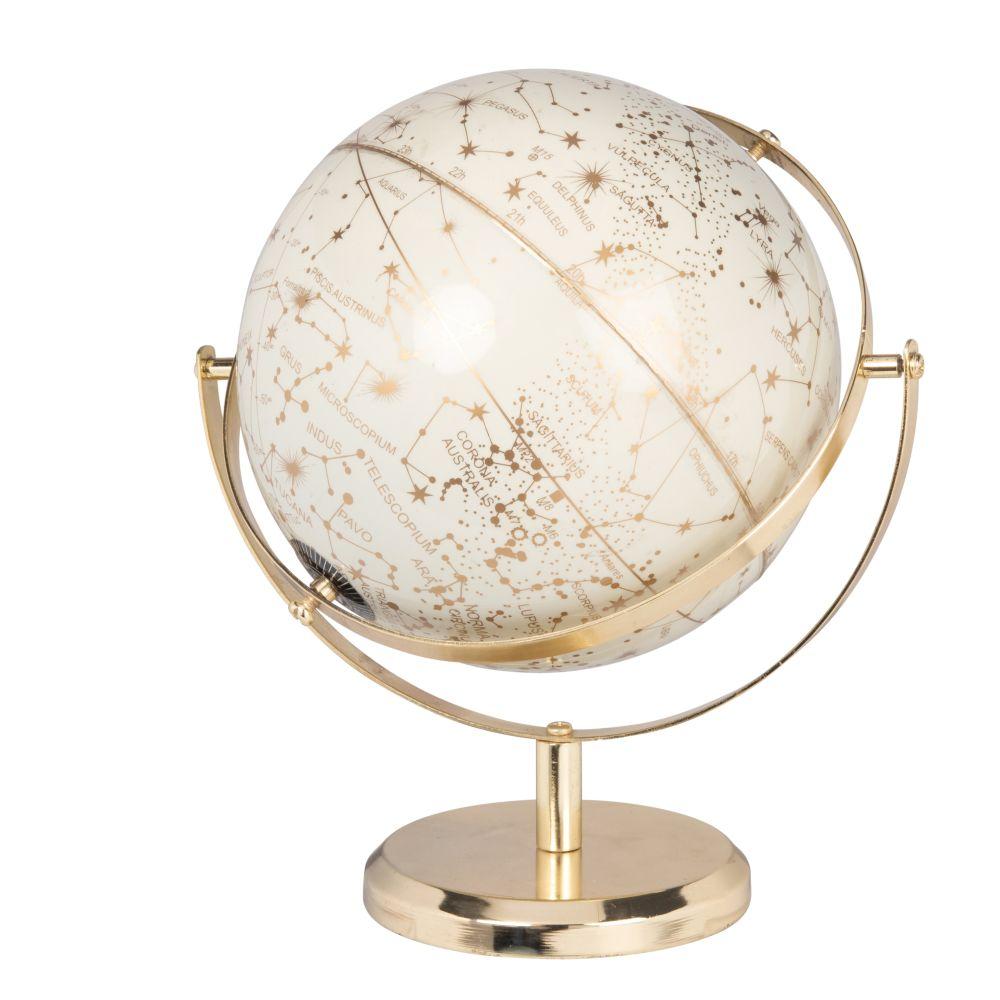 Globe terrestre carte du monde écru et doré