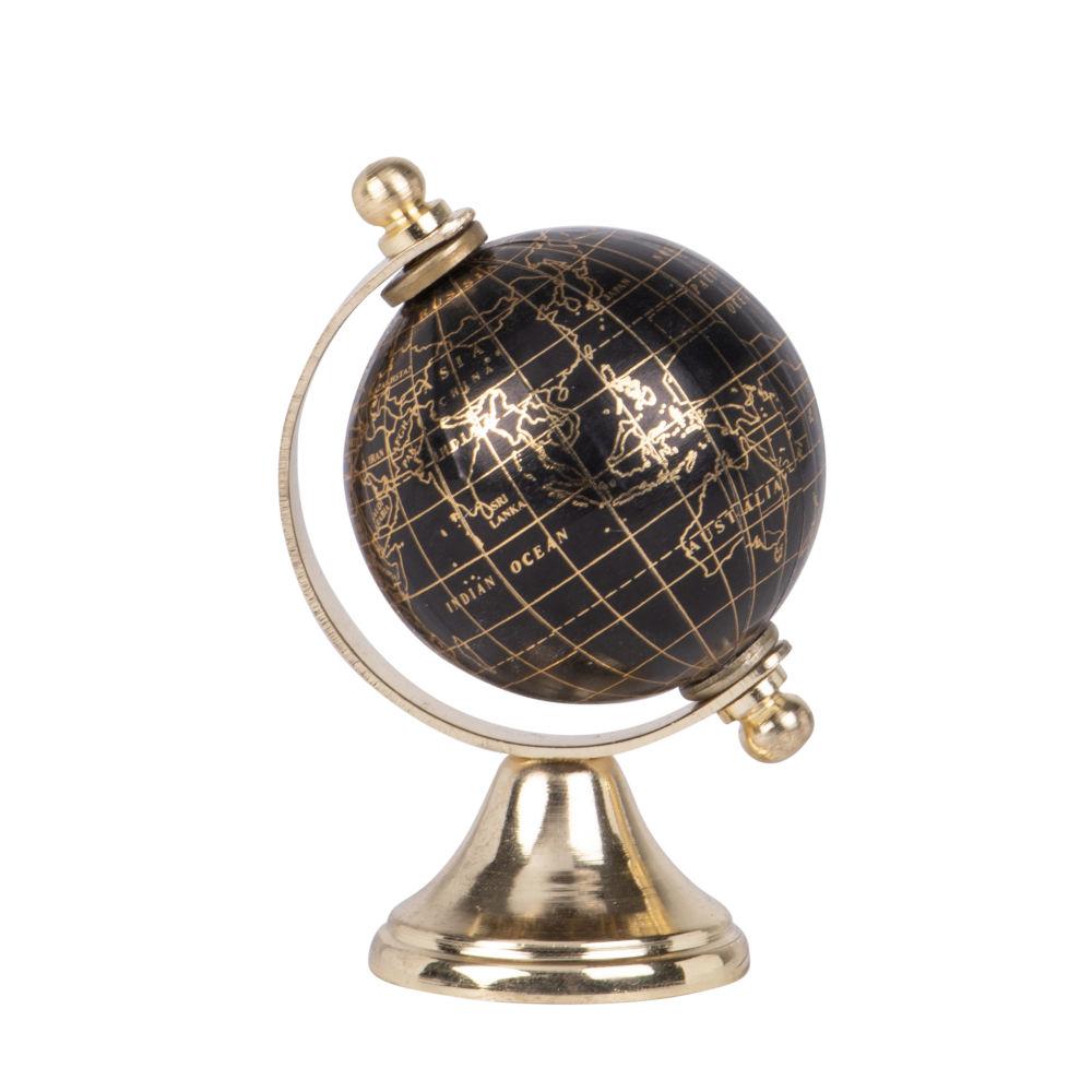 Globe terrestre carte du monde en métal doré et noir (photo)
