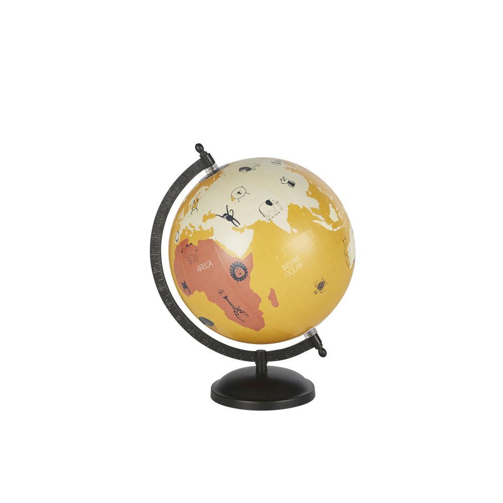 Globe terrestre carte du monde en métal noir et multicolore