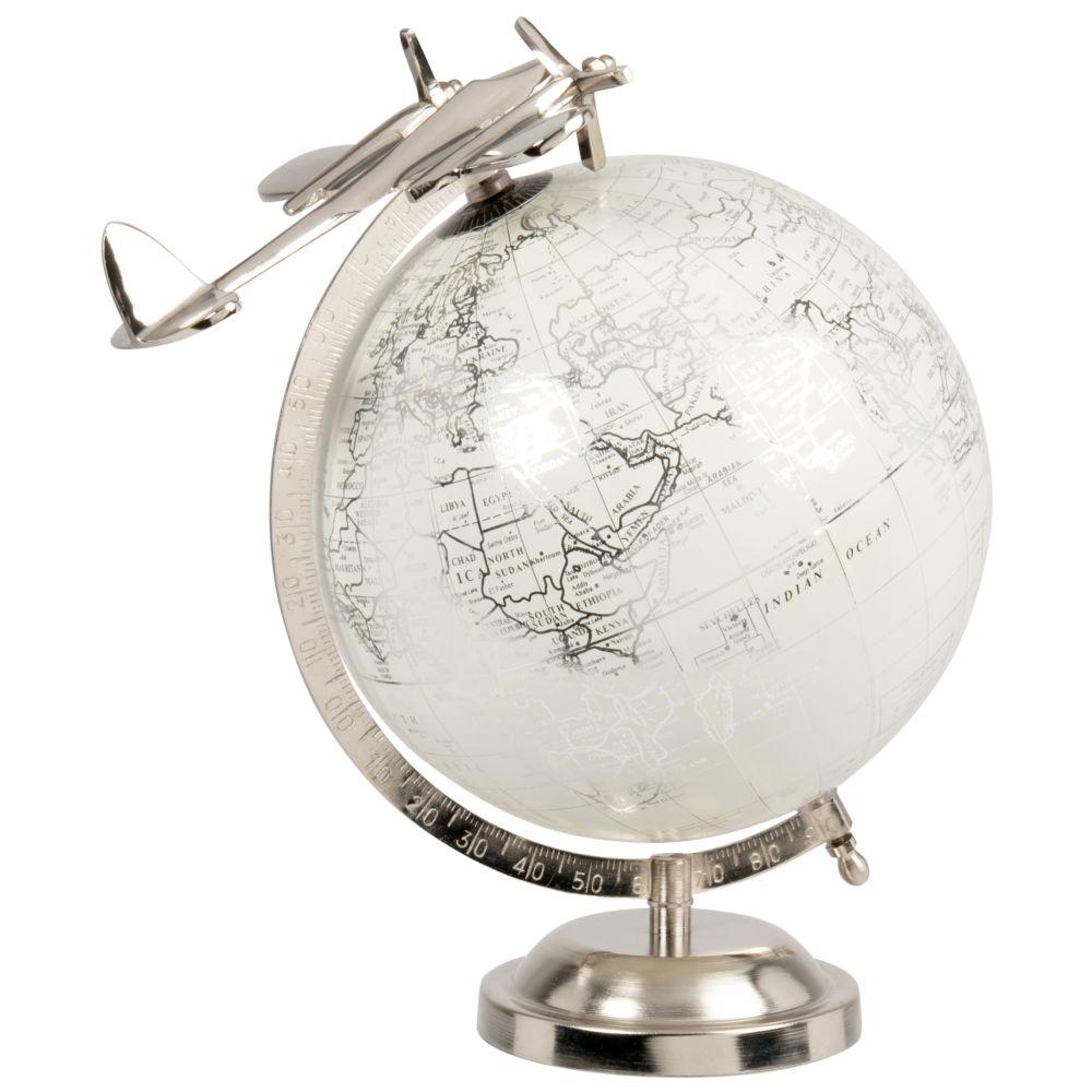 Globe terrestre carte du monde et avion en métal blanc et gris