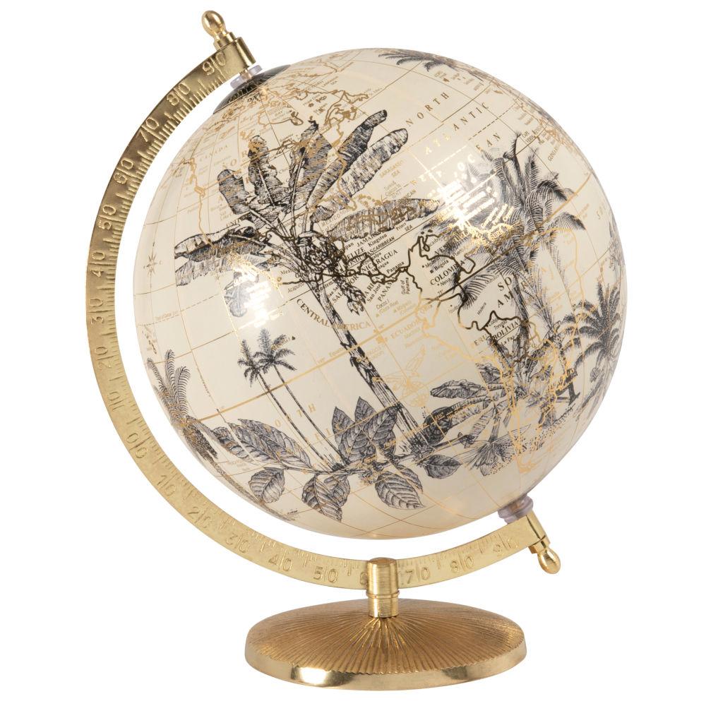 Globe terrestre carte du monde imprimé feuilles beige et métal doré