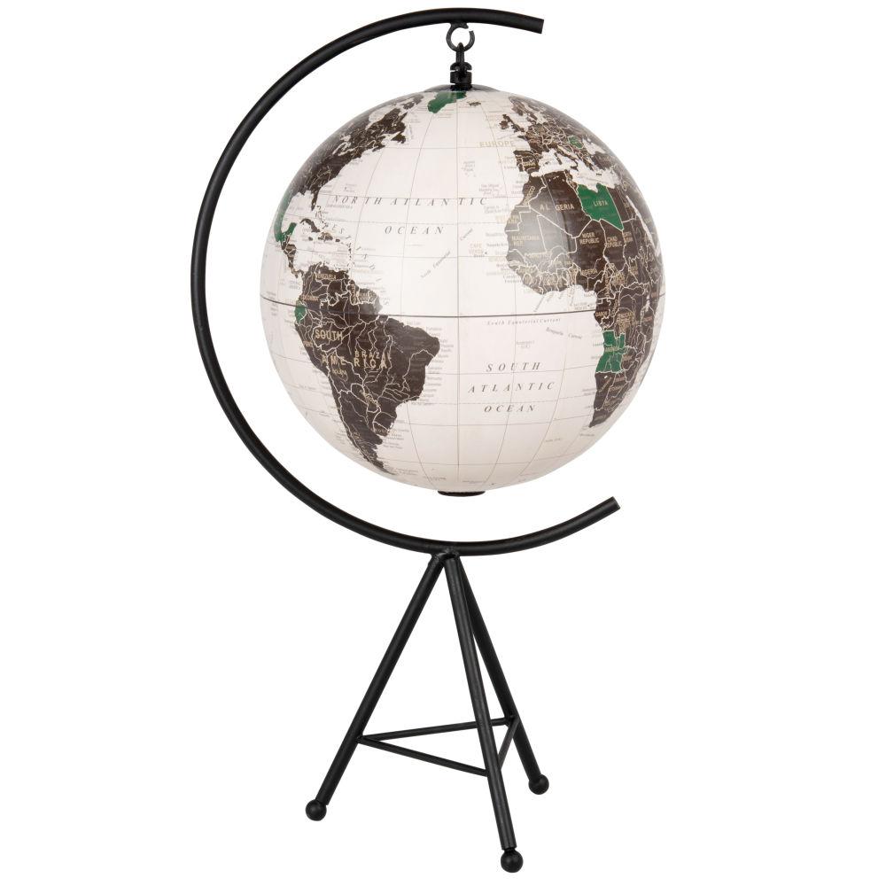 Globe terrestre carte du monde noir et blanc