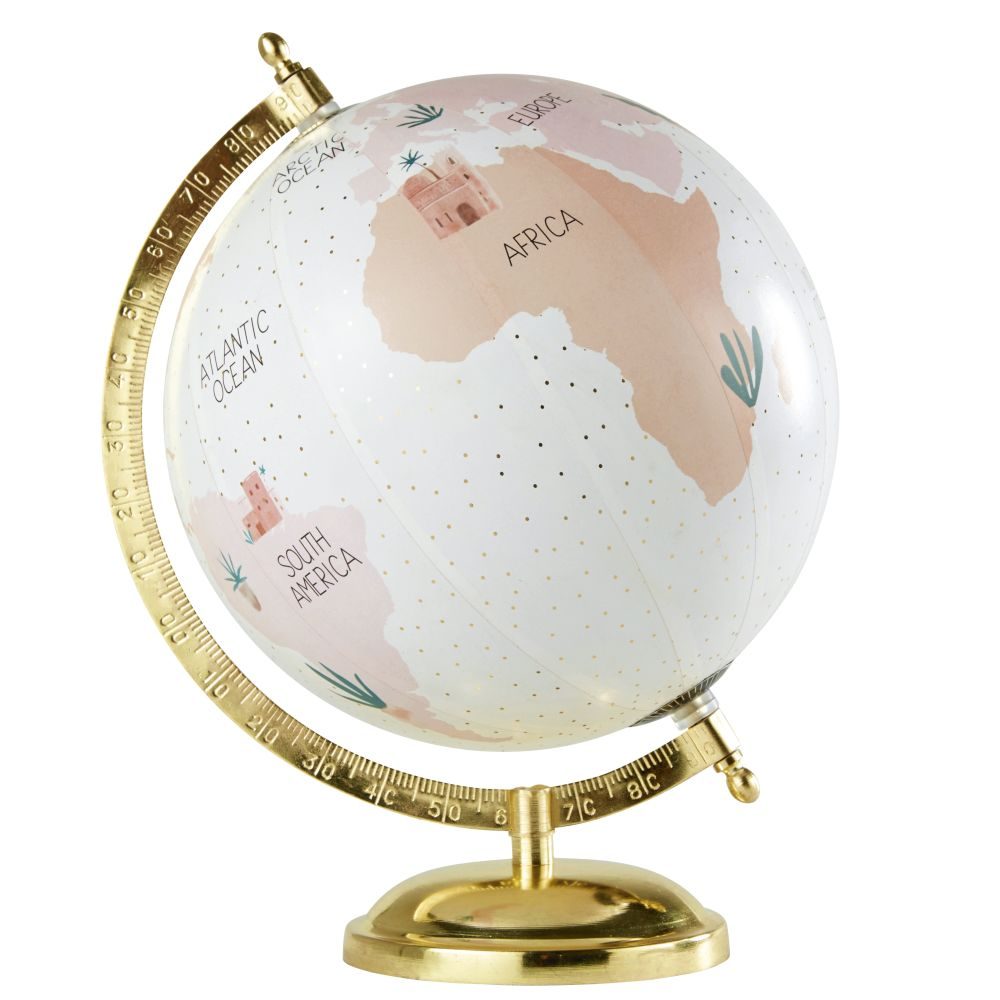 Globe Terrestre Carte Du Monde Rose En Métal Doré